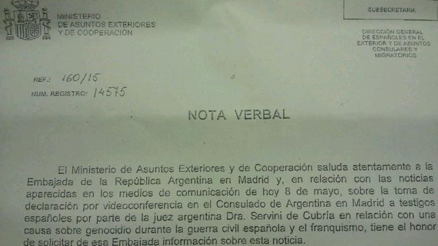 La carta del ministerio de Asuntos Exteriores a la embajada argentina