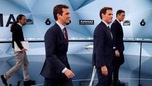 Casado, Rivera, Sánchez e Iglesias, en el debate de candidatos organizado por Atresmedia, el pasado 23 de abril.