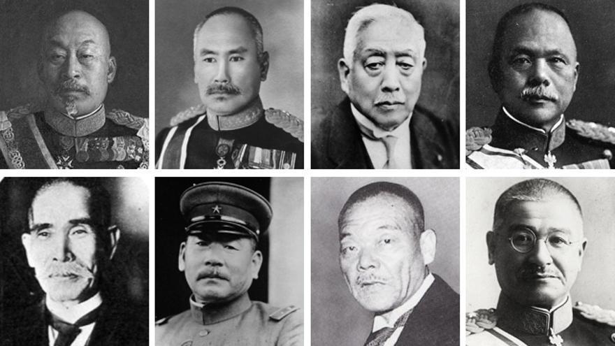 Los ocho gobernadores generales japoneses en Corea, dos de los cuales repitieron mandato