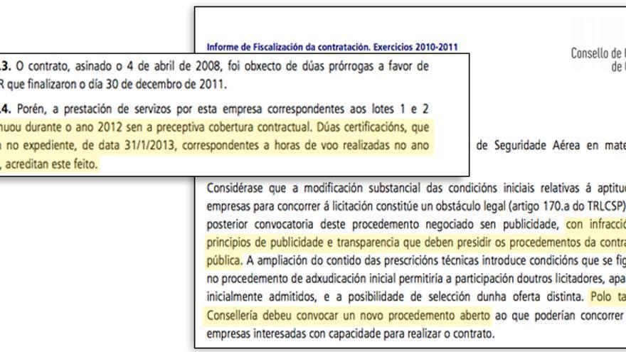 Fragmentos del informe del Consello de Contas sobre los helicópteros de la Xunta