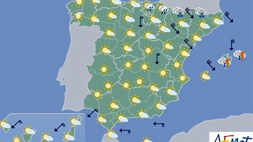 Hoy viento en Pirineos y Baleares y subida de temperaturas en mediterráneo