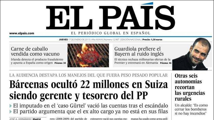 Portada de El País (17/enero/2013)