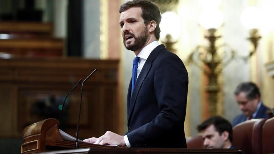 Pablo Casado, en el Congreso durante el debate de ampliación del estado de alarma.