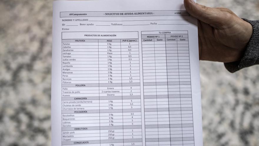 Formulario para solicitar el pedido de ayuda alimentaria en el barrio madrileño de Campamento.