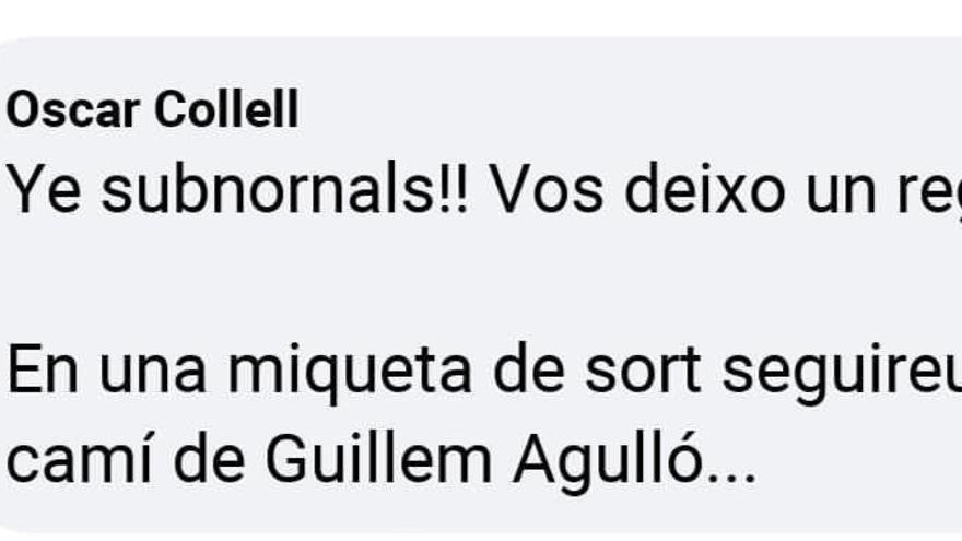 Mensaje escrito por el portavoz del PP en Càlig (Castelló) en Facebook.