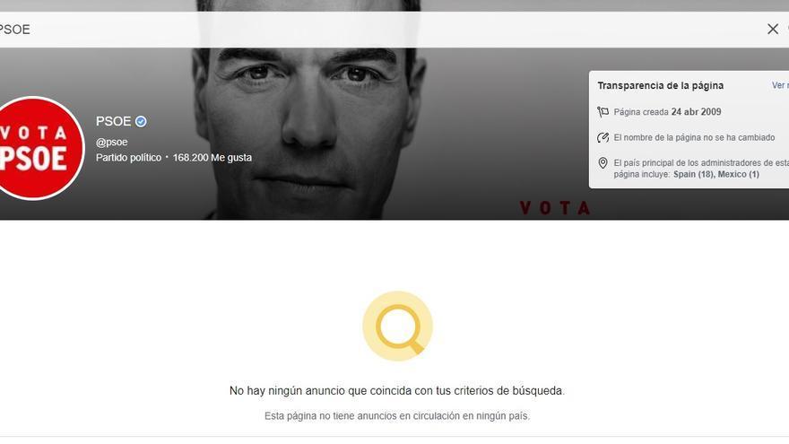 Los anuncios del PSOE en Facebook, borrados
