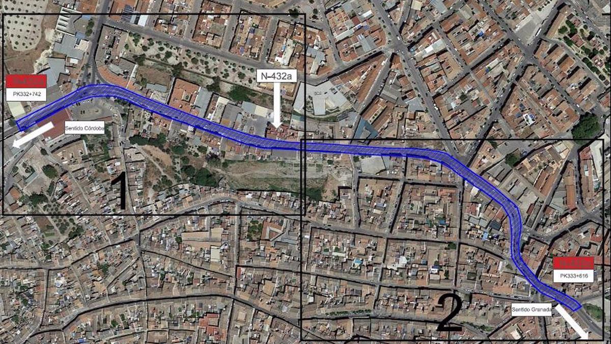 El tramo de la N-432A cedido por el Ministerio de Transportes al Ayuntamiento de Baena.