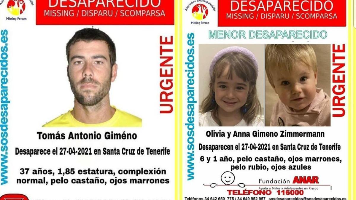 Carteles de búsqueda de Tomás Gimeno y de las niñas Anna y Olivia