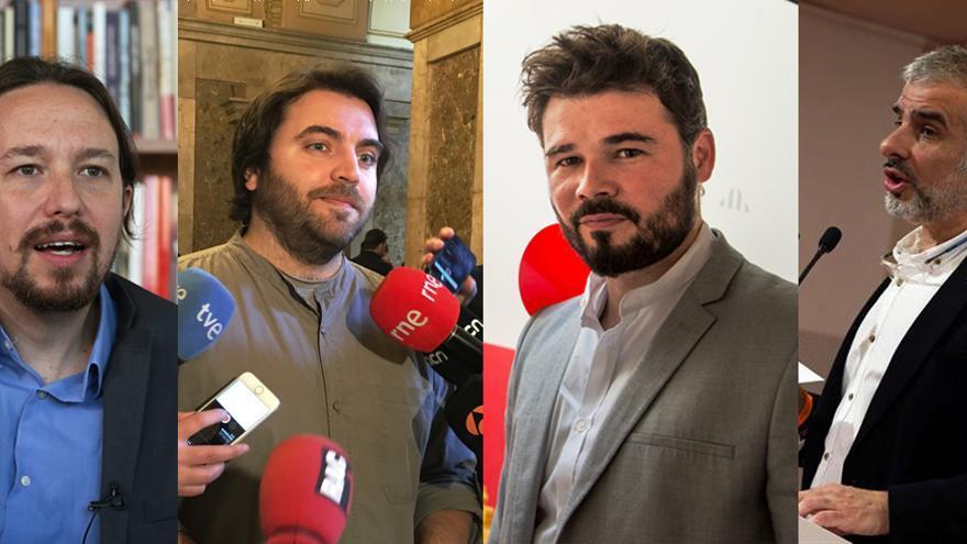 Composicion Pablo Iglesias, Ferran Pedret, Gabriel Rufian y Carlos Carrizosa en Carne Cruda