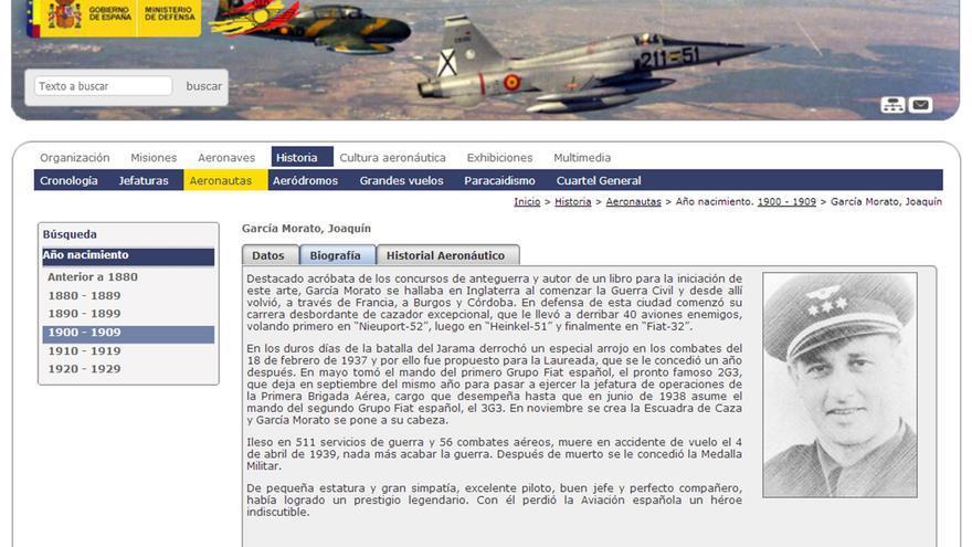 El piloto franquista García-Morato en la web del Ejército del Aire.