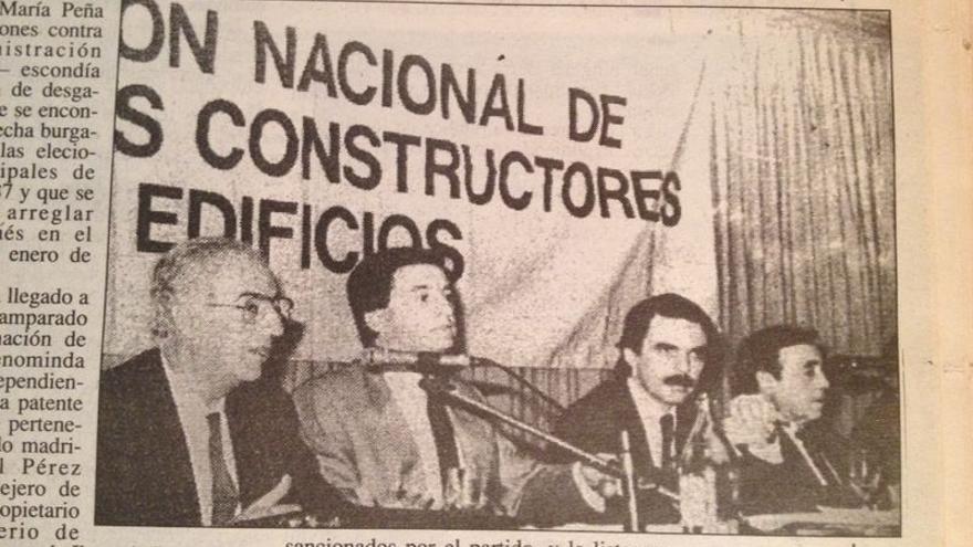 Aznar y Méndez Pozo, en una reunión con empresarios en 1987. El recorte de prensa es de Diario 16 de Burgos.