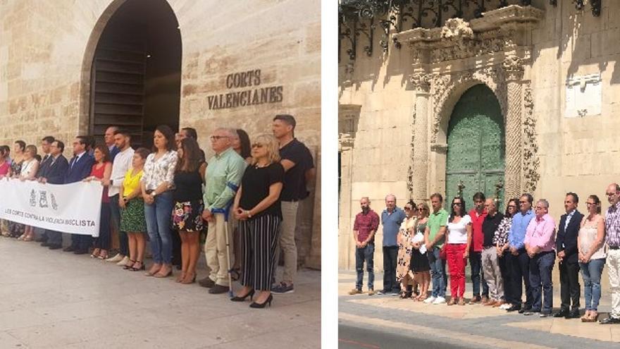A la izquierda, Vox aparece en un lateral de la concnetración ante las Corts Valencianes, mientras que en la imagen de la derecha su portavoz en Alicante (tercero por la derecha) se suma al resto.