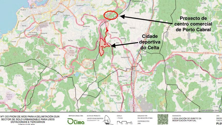 Perímetro de la ciudad deportiva del Celta en Mos, según su propio proyecto, y zona en la que estaría el gran centro comercial de Vigo