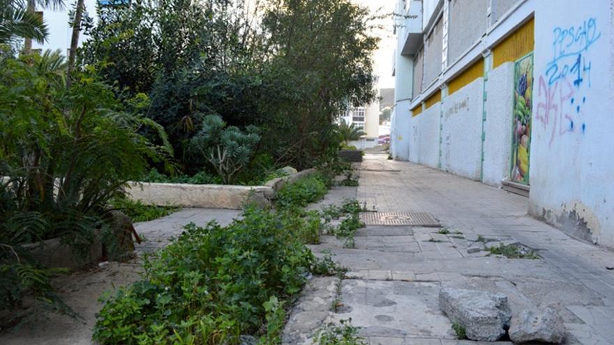 Los jardines están descuidados y las baldosas levantadas. FOTO: Iago Otero Paz.
