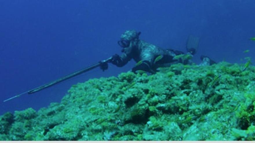 Pescador submarino.