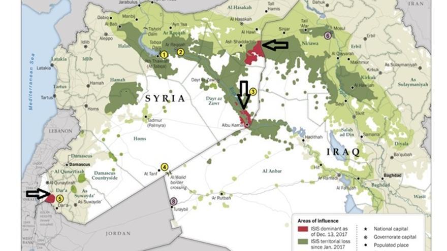 En verde claro, pérdidas territoriales de ISIS antes de enero de 2017. En verde más oscuro, pérdidas territoriales de ISIS posteriores desde enero de 2017.