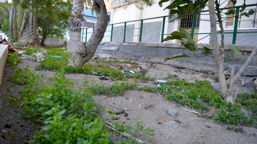 Los jardines no se cuidan y están llenos de basura. FOTO: Iago Otero Paz.
