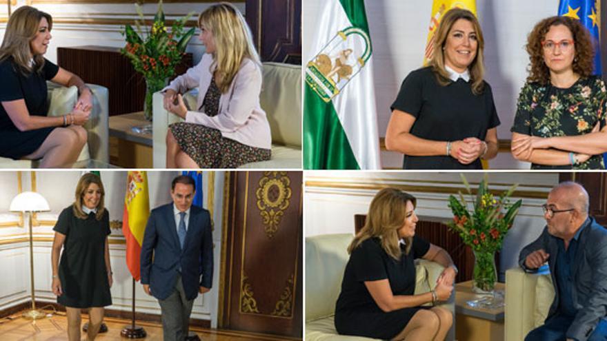 Susana Díaz con los líderes de los sindicatos y la patronal en Andalucía.