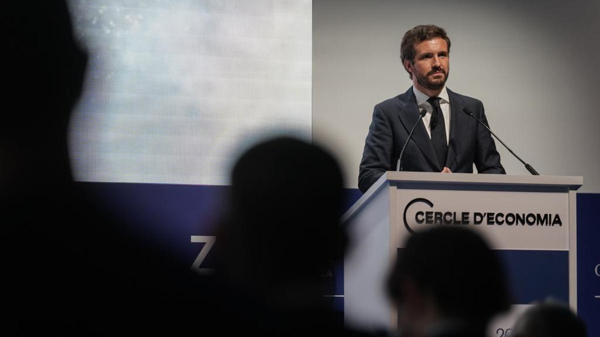 Pablo Casado, este jueves Barcelona, durante su discurso ante el Cercle d'Economia.