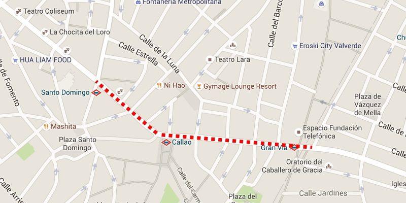 Corte total del tráfico en la Gran Vía (marcado por la línea de puntos roja)
