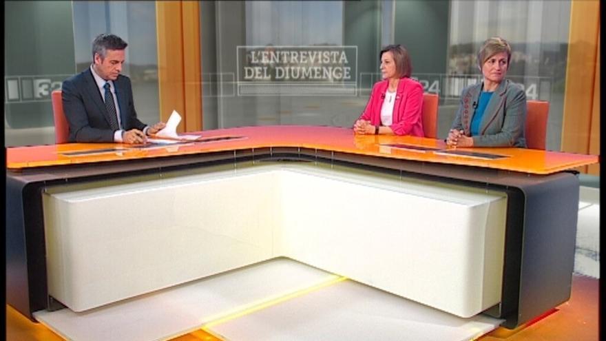Carme Forcadell en los platós de TV3 este domingo