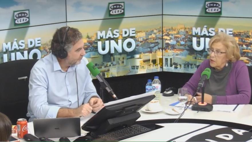 Manuela Carmena, en el programa 'Más de Uno' de Carlos Alsina, en 'Onda Cero'