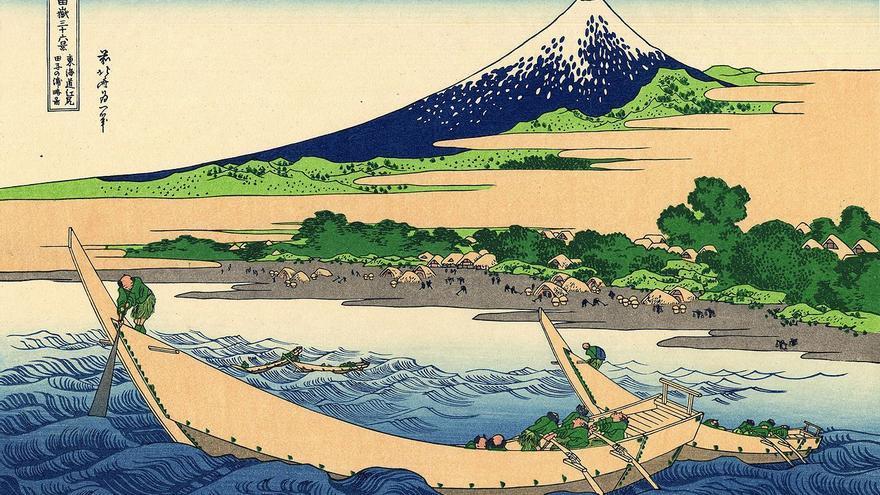 'Orilla de la Bahía Tago, Ejiri en la Tōkaidō',  grabado nº 18 de 'Treinta y seis vistas sobre el monte Fuji'