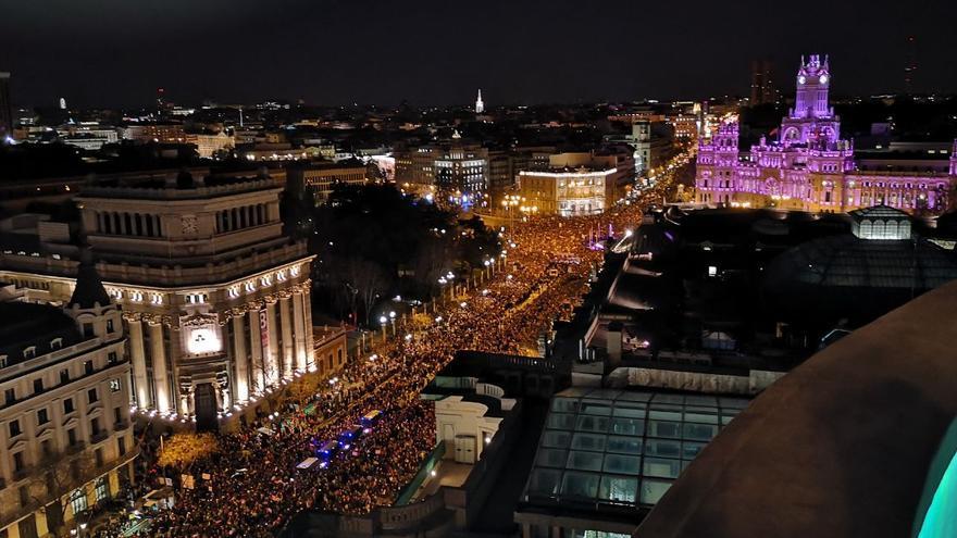 La marcha feminista en el centro de Madrid.
