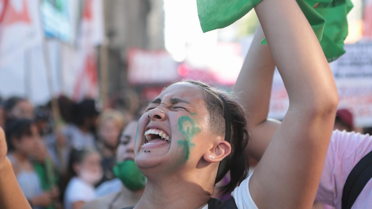 El festejo tras la votación en Diputados.