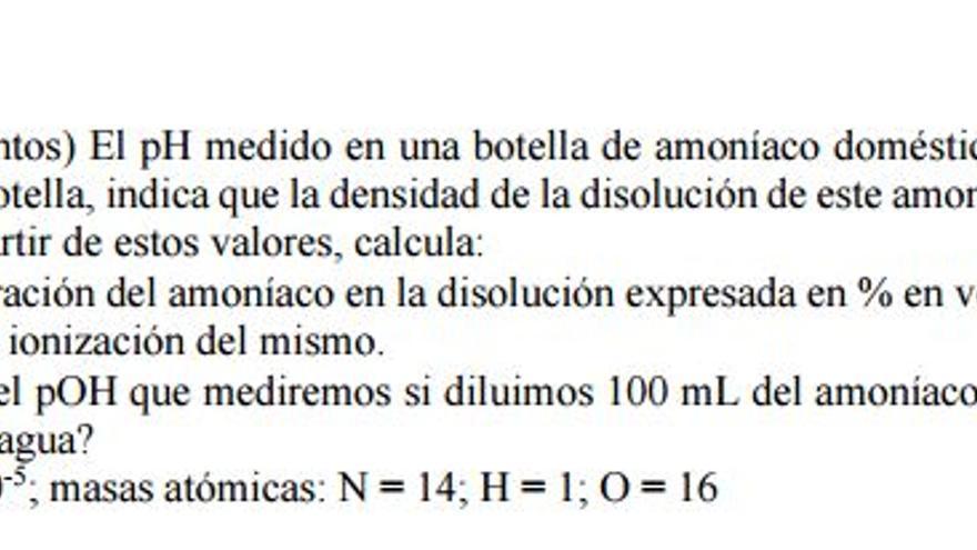 Opción B. Primer ejercicio. Apartado a) de la prueba EVAU Química UCLM