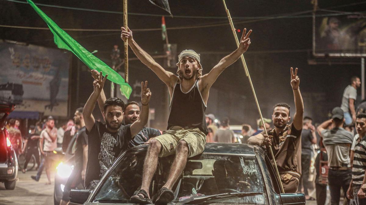 Los palestinos celebran el alto el fuego