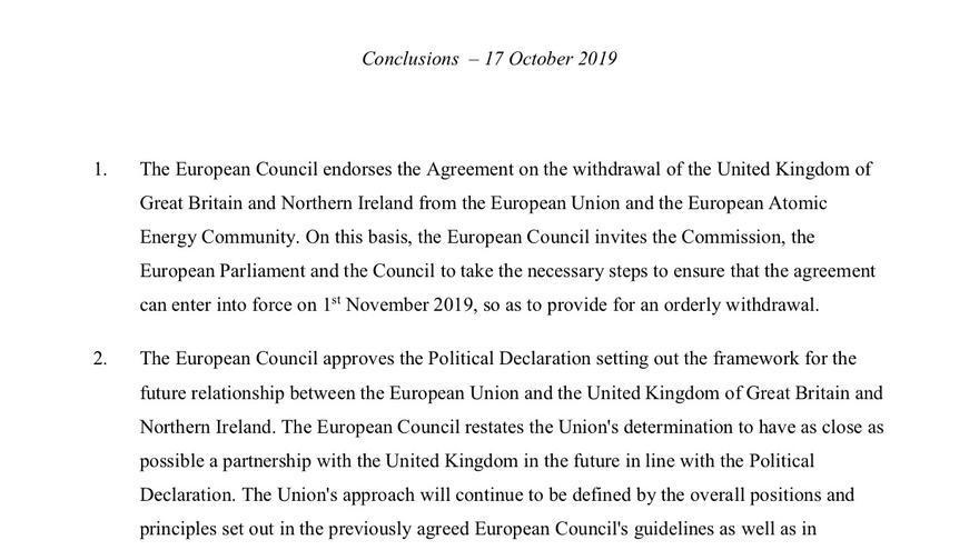Conclusiones del Consejo Europeo de 17 de octubre de 2019.