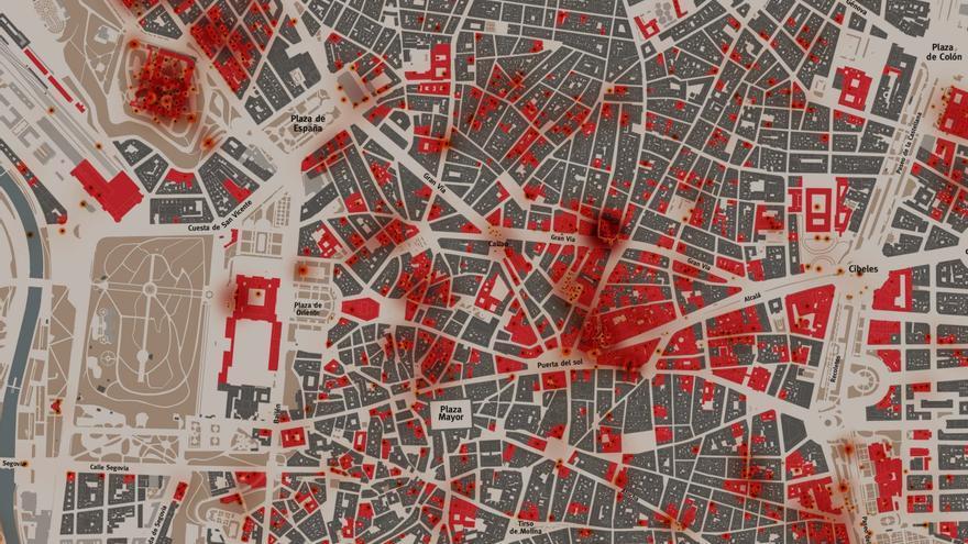 Detalle de los edificios dañados en el centro de la ciudad en el plano 'Madrid Bombardeado 1939-1936'.