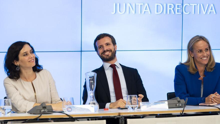 Isabel Díaz Ayuso y Pablo Casado, el pasado 25 de septiembre, durante la Junta Directiva del PP de Madrid.