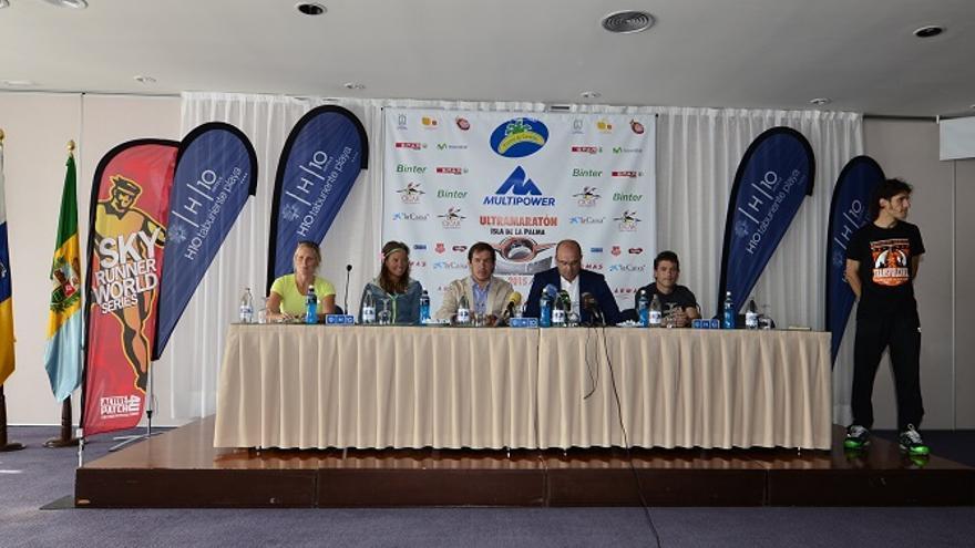 En la imagen, acto llevado a cabo este miercoles con motivo de la séptima edición de la Plátano de Canarias Transvulcania.
