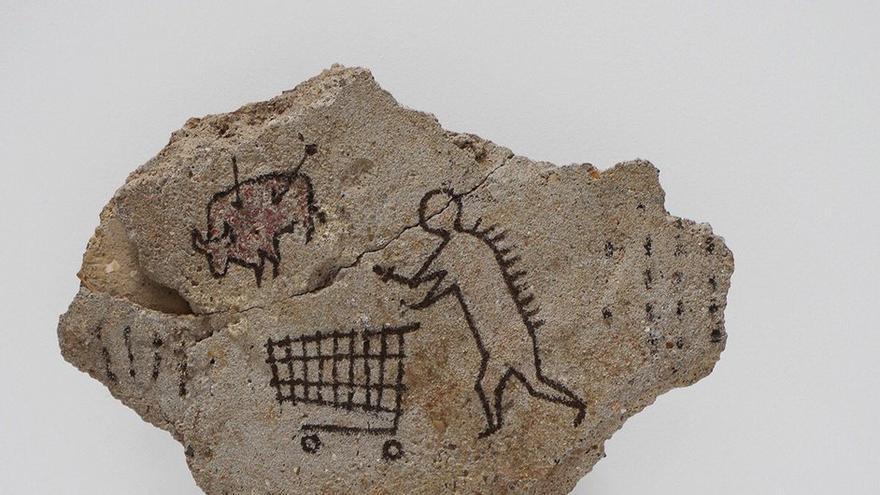 La pieza colocada por Banksy en el British Museum