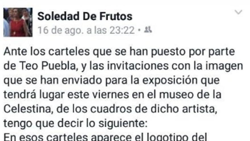 Captura de las declaraciones en Facebook de la alcaldesa, Soledad de Frutos