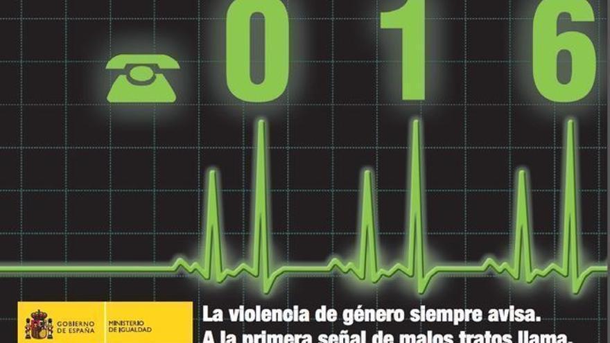 Tarjeta del número de apoyo a víctimas de violencia de género 016.