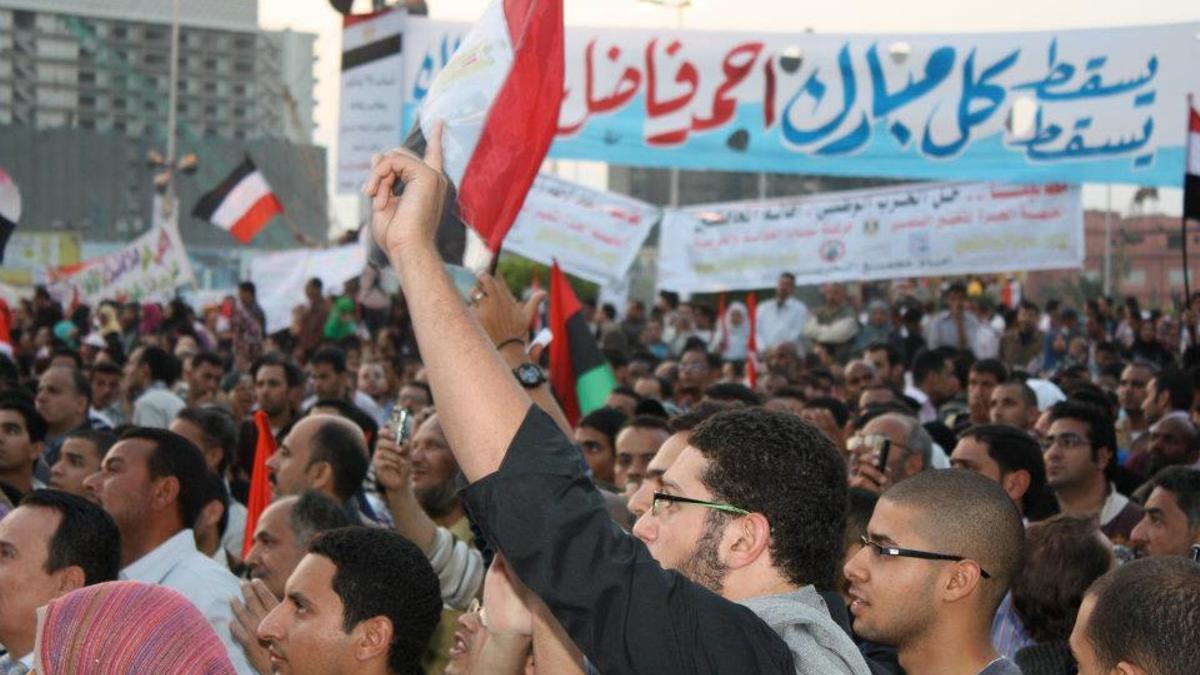 Una de las protestas en la plaza Tahrir de El Cairo durante las revueltas egipcias de 2011