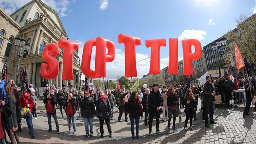 Imagen de una protesta contra el TTIP en Alemania.
