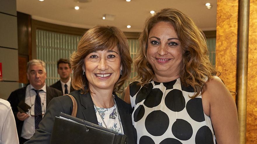 La secretaria de Estado de Empleo, Yolanda Valdeolivas, junto a la consejera de Empleo del Gobierno de Canarias, Cristina Valido.