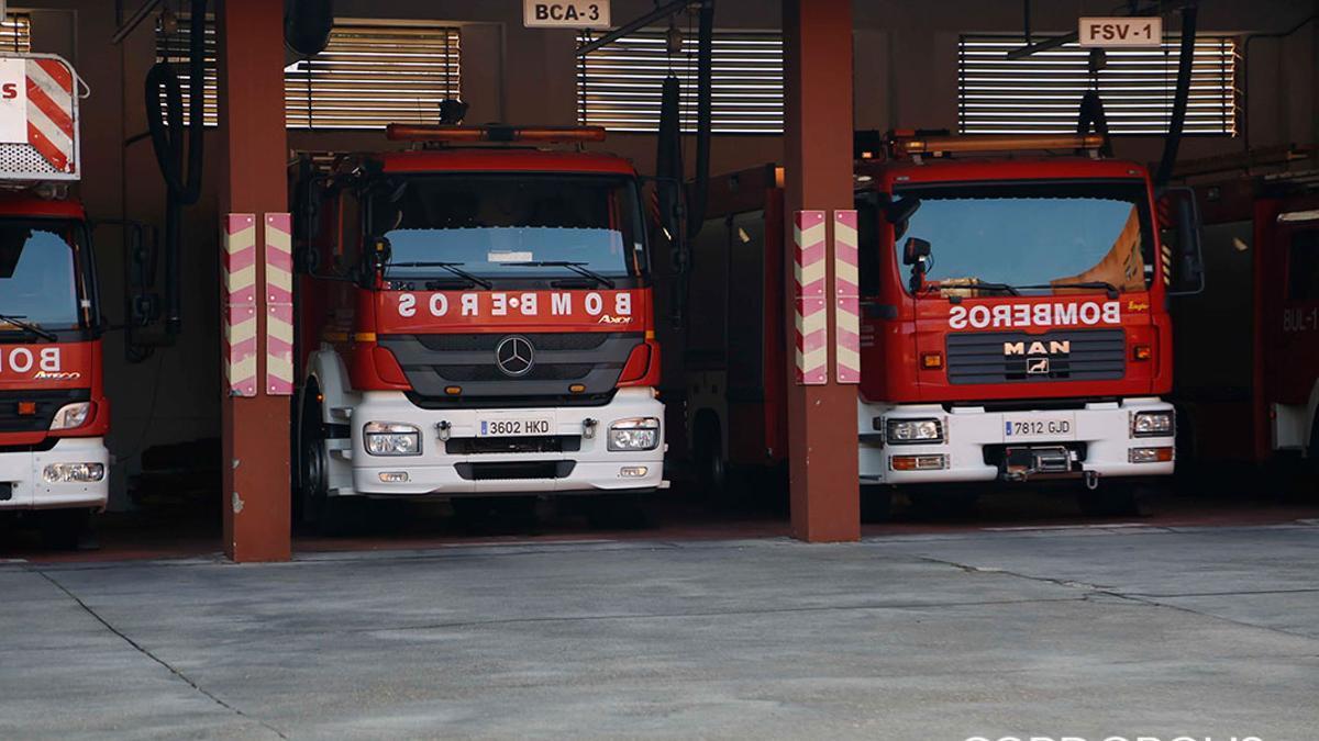 Camiones de bomberos en el parque central