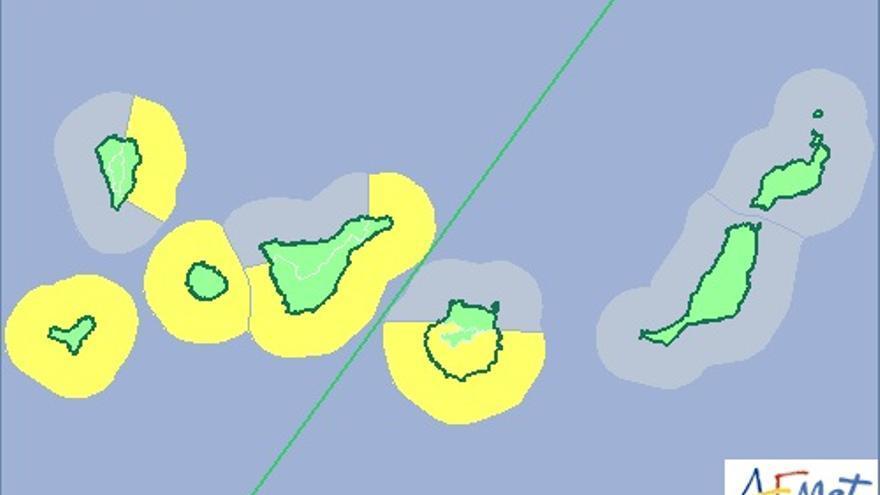 Mapa de la Aemet de aviso de riesgo amarillo por fenómero costero para este jueves.