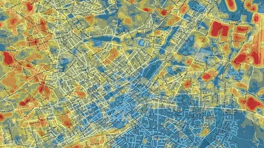 Plano de las zonas de la ciudad australiana de Bendigo en función de la temperatura.