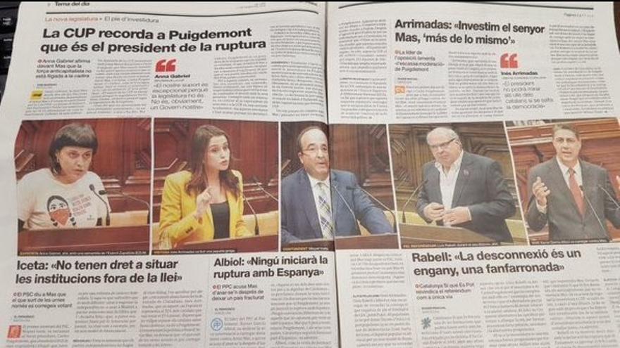 Imagen de la doble página con las fotos de los políticos y políticas que intervinieron en el Parlament. / @InesArrimadas