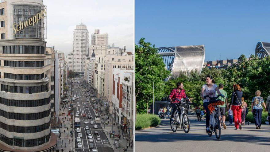 Gran Vía y Madrid Río, los más transitados