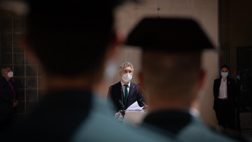 El ministro de Interior, Fernando Grande-Marlaska durante su intervención en el acto de toma de posesión del nuevo jefe de la Guardia Civil, José Luis Tovar Jover