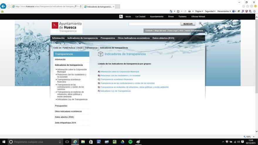 Portal de transparencia del Ayuntamiento de Huesca.