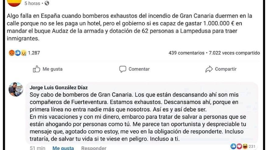 Respuesta del cabo bombero González a una de las cuentas que se hicieron eco del mensaje del responsable de redes del PP.