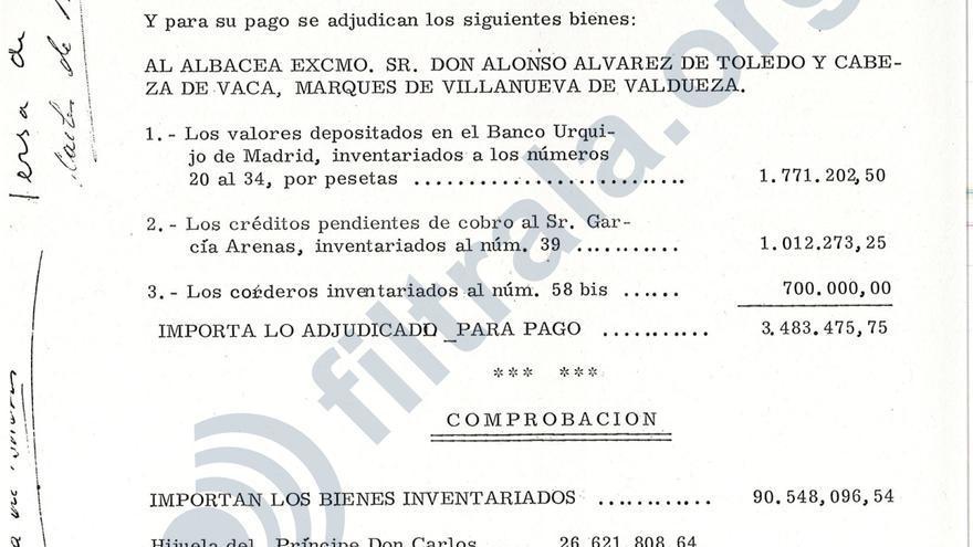 """Página final del testamento de Alfonso de Borbón, especificando la """"hijuela"""" que se llevará cada heredero en pesetas"""